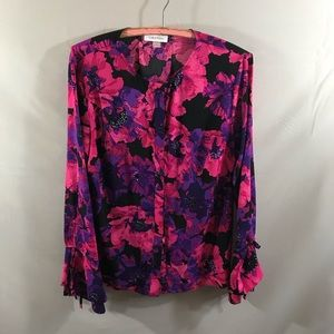 Calvin Klein floral bell sleeve blouse
